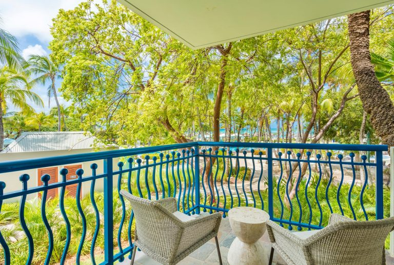 The panoramic garden view from the Bonaire Suite.