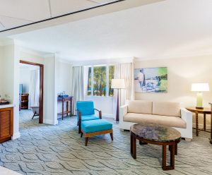 The Bonaire Suite's spacious living room with a sofa bed