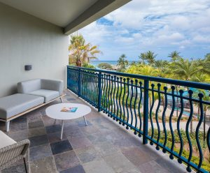 The extra large balcony of the Curacao suite