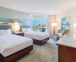 Two double beds in a 380 sq. ft. ocean view room